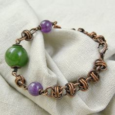 jade bracelet / amethyst jewelry / oxidized copper