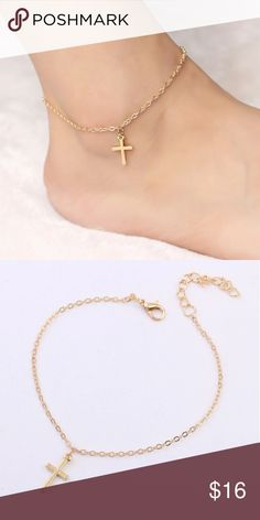 Spotted while shopping on Poshmark: Goldtone Cross Ankle bracelet! #poshmark #fashion #shopping #style #Jewelry