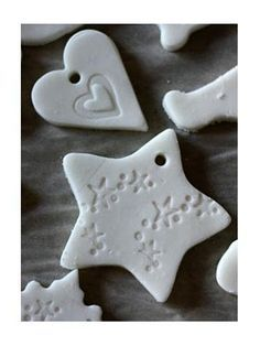 Clay recipe (Just corn starch, baking soda, and water) for making ornaments - Bake them in the oven, or allow to air dry.