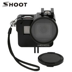 SHOOT CNC Aluminum Alloy Protective Case for GoPro HERO 5 Black Camera Cage Mount with 52mm UV Lens for GoPro Hero 5 Accessory //Price: $27.00      #socialenvy