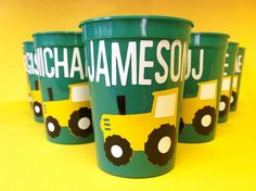 Green and Yellow Tractor Personalized Party Favor by PaperCutCards