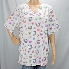 a9d5932fb12 Details about Sanrio Hello Kitty Scrub Top Pockets V Neck Lace Hearts Size  XL