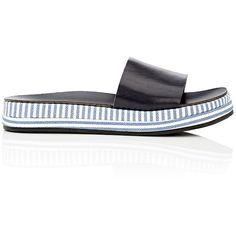 Barneys New York Women's Striped-Platform Leather Slide Sandals featuring polyvore, women's fashion, shoes, sandals, leather slip on sandals, platform sandals, rubber sole sandals, slip on shoes and leather slip-on shoes