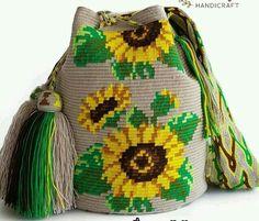 Flower collection is coming! Finest single thread hande woven Orginal wayuu bag from Colombia made by Wayuu tribe. Crochet Handbags, Crochet Purses, Crochet Home, Knit Crochet, Mochila Crochet, Tapestry Crochet Patterns, Tapestry Bag, Diy Purse, Cotton Bag