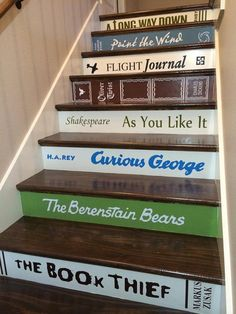 These stair riser decals are custom made for you. Pick ANY title or saying you want! You paint your risers the color you want for the book background
