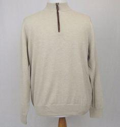 Peter Millar Sweater Large 100% Luxe Cashmere 1/2 Zip Beige Golf Pullover #PeterMillar #12Zip