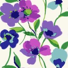 128028 chalk printed non woven wallpaper poppies purple and turquoise