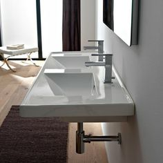 Scarabeo | Rectangular Double White Ceramic Self-Rimming Wall Mounted Bathroom Sink | 48w x 18.5d (with side ledges)