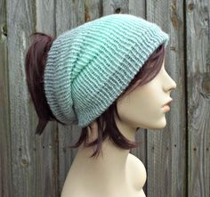 Silver and Mint Double Knit Tube Hat For Dreads - Messy Bun Hat Dread Beanie Dreadlock Headband Head Wrap Head Sock - READY TO SHIP