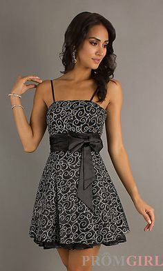 Short A-Line Spaghetti Strap Prom Dress with Bow at PromGirl.com
