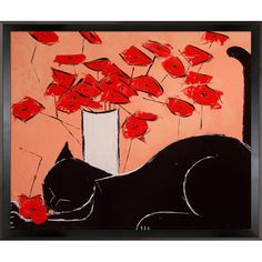 Black cat with poppies is a beautiful painting of a cat, a motif Atelier De Jiel often uses in his paintings. Enjoy the beauty and color of this painting reproduced as a fine canvas print. Atelier De