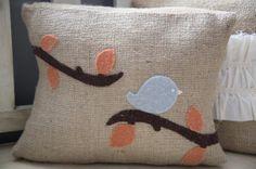 Bird applique pillow by thelittlegreenbean on Etsy, $22.00