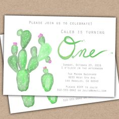 Cactus Party Invitation First Birthday Party Invitation Little Girl Party Invite…