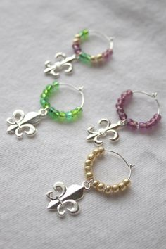Mardi Gras Wine Charms - Set of 4