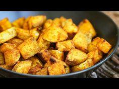 Easy Roast Potatoes - Super Healthy Turmeric Style - Kind Earth Baked Pakora Recipe, Vegan Mushroom Burger, Onion Bhaji, Vegan Christmas Dinner, Baked Onions, Vegan Burgers, Perfect Food, Healthy Baking