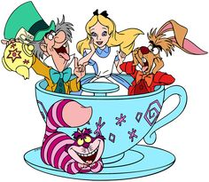 Images of Alice, the March Hare, the Mad Hatter and the Dormouse from Disney's animated movie Alice in Wonderland. Art Drawings Sketches Simple, Cartoon Drawings, Alice In Wonderland Characters, Disney Animated Movies, March Hare, Plastic Canvas Christmas, Mad Hatter Tea, Disney Scrapbook, Cheshire Cat