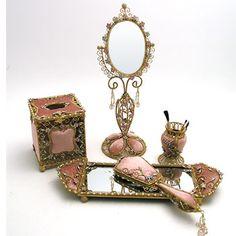 Tea Rose Velvet Victorian Vanity