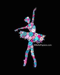 Ballerina Dancer   Button & Swarovski Art Button Art   Ballet Dancer   8x10…