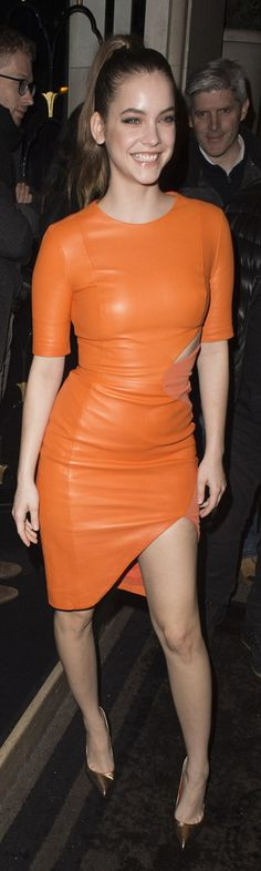Who made Barbara Palvin's orange short sleeve cut out dress?