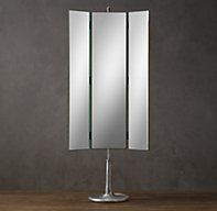 """Restoration Hardware Telescoping Dressing Mirror 3 Way; $1095. DIMENSIONS 32¼""""W x 54""""H mirror; adjusts to 77""""H overall; 102 lbs."""