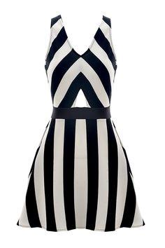 Elegant Black&White Stripe Print Cross-Back Dress - OASAP.com