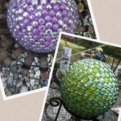 Homemade gazing balls. Find old bowling balls from goodwill fill finger holes with Durham's water putty, spray paint the desired color glue little crystals with silicon. Mom uses the flat sided deco beads. (helps if you sand the ball a bit)