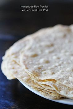Homemade Flour Tortillas Recipe on twopeasandtheirpod.com SO easy to make at home!