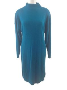Carriage-Court-Sweater-Dress-Mock-Turtleneck-Long-Sleeve-Teal-Size-XL-Vintage
