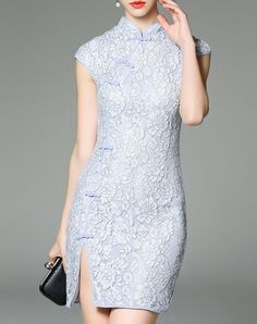 #AdoreWe Ewheat Floral Laced Cheongsam Short Sleeve Sheath Mini Dress - AdoreWe.com