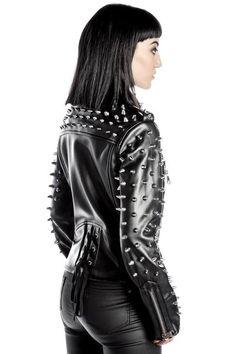 Billie Studded Biker Jacket [B] Jackets For Women, Clothes For Women, Women's Jackets, Off White Jacket, Womens Clearance, Fashion Project, Alternative Fashion, Gothic Fashion, Leather Fashion