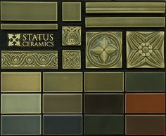 Tiles for fireplace re-do. Love the color palette. Amazing handmade embossed tiles available in all the colors. Very Craftsman-ish.