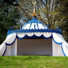 Royal Blue trimmings by the Samuel & Sons Custom Division for the restoration of Painshill Park's Turkish Tent in Cobham, Surrey.