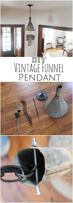 Reclaimed Vintage Funnel Pendant Light - 100 DIY Pendant Light Projects to Make Your Home Decoration Easy