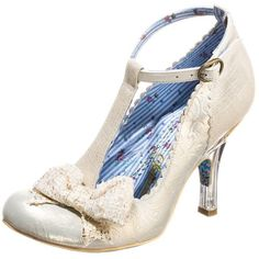 Irregular Choice FLOXY Classic heels off white ($120) ❤ liked on Polyvore featuring shoes, lolita, irregular choice shoes, high heel shoes, genuine leather shoes, strappy shoes and synthetic shoes