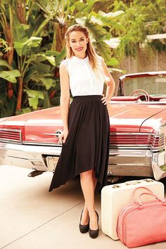 LC Lauren Conrad for Kohl's Mixed-Media Top, Hi-Low Maxi Skirt & Platform High Heels