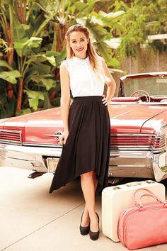 LC Lauren Conrad for Kohl's Mixed-Media Top, Hi-Low Maxi Skirt & Platform High Heels