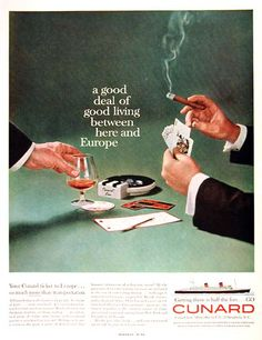 1960 Cunard Cruise Lines, men having a flutter while drinking, and smoking cigars. I wonder where the wives are, hmmm.....