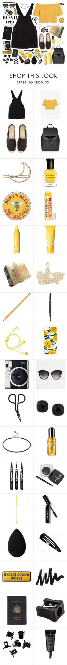 """road trippin' [#540]"" by hello-crazy ❤ liked on Polyvore featuring Monki, Soludos, LC Lauren Conrad, Deborah Lippmann, Clinique, Rembrandt Charms, Leathersmith, Paper Mate, Happy Plugs and Sonix"
