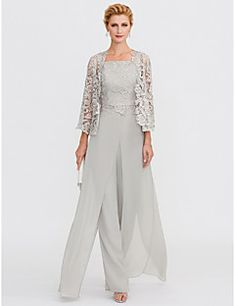 Jumpsuits / Pantsuit Straps Floor-length Chiffon / Laced Lace Mother of the Bride . - Jumpsuits / Pantsuit Straps Floor-Length Chiffon / Laced Lace Mother of the Bride Dress with Appliq - Formal Evening Dresses, Elegant Dresses, Evening Gowns, Dressy Dresses, Elegant Clothing, Halter Dresses, Ivory Dresses, Dresses Uk, Vintage Clothing