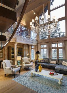 Величественный деревянный дом в Ленинградской области | Пуфик - блог о дизайне интерьера