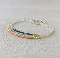 Miyuki kralen armband zomer armband, eenvoudig gerolde armband, zilveren parel armband - elegante handgemaakte sieraden door laurier Boutique
