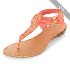 Coral Embellished T-Bar Strap Sandals
