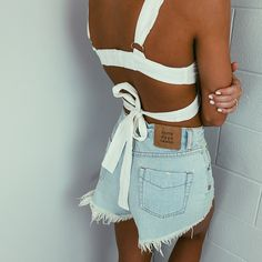 white wrap around crop top + denim shorts Summer Outfits, Cute Outfits, Pretty Outfits, Models, Daily Look, Fashion Outfits, Womens Fashion, High Fashion, Spring Summer Fashion