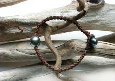 Tahitian pearls bracelet for men Braided precious leather and two genuine beautiful tahitian pearls