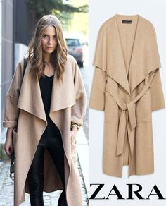 ZARA CAMEL WOOL LONG COAT WITH POCKET BELT DRAPE WATERFALL BEIGE SIZE S M 8 10