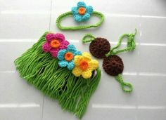 Hawaiian Hula baby crochet costume