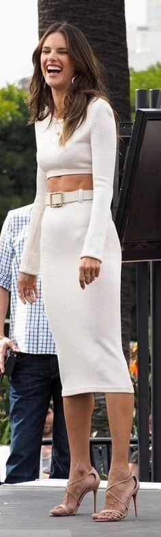 Who made Alessandra Ambrosio's nude sandals, white skirt, and white cropped sweater? Shoes – Christian Louboutin Shirt and skirt – Calvin Klein Collection White Fashion, Star Fashion, Love Fashion, Womens Fashion, Victoria's Secret, Nude Sandals, Queen, White Skirts, Couture Fashion