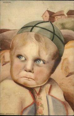 A/S MILLY HEEGAARD Heddal Crying Little Boy SCANDINAVIAN Old Postcard