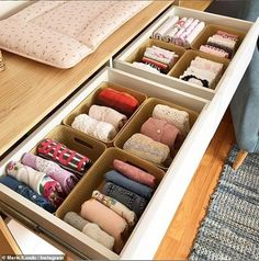 Have you been inspired by Marie Kondo's new Netflix series, Tidying Up With Marie Kondo, to clear your life of clutter? Before you start emptying your closets, check out these KonMari Method transformation photos that spark joy in us. Ikea Organisation, Apartment Closet Organization, Storage Organization, Organizing Drawers, Closet Storage, Organising, Organizar Closet, Declutter Your Home, Tidy Up
