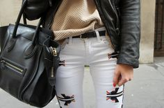 embroidered jeans.